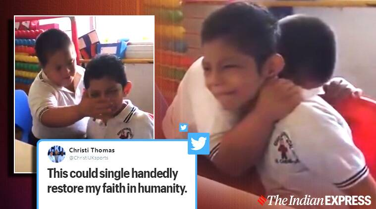 Video of a boy with Down syndrome comforting an autistic classmate goes viral