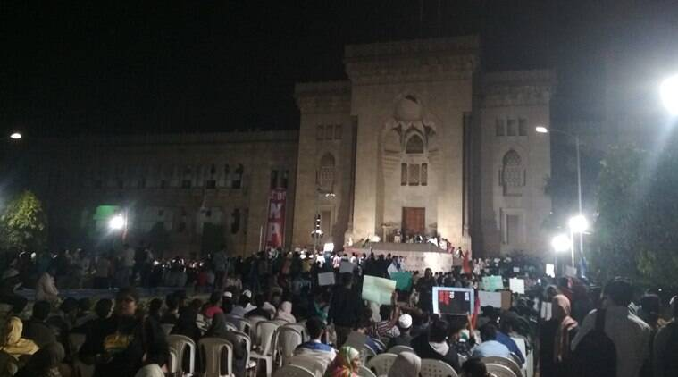 hyderabad, citizenship law protests, caa protests, osmania university, hyderabad students protest, nrc, indian express news