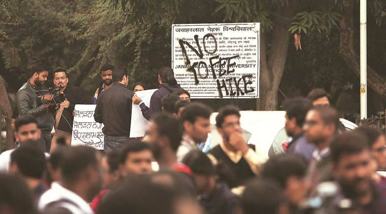 JNU protest, JNU, Jnu fee hike, JNUSU protest, JNU students protest fee hike, higher education India, HRD ministry, Indian express