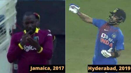 Virat Kohli notebook celebration, Virat Kohli-Kesrick Williams, Kesrick Williams send off Kohli, Virat Kohli vs Kesrick Williams, Kesrick Williams notebook celebration, IndvWI t20