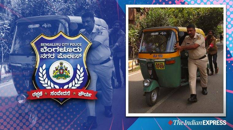 Bengaluru police cop helps auto driver viral photo, Karnataka cop viral pic, cop helps auto driver