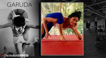 kavita kaushik, yoga, indianexpress.com, indianexpress, yoga poses, garuda pose, eagle pose, benefits of garuda pose, week challenge, Adho Mukha Vrksasana, Sirsasana,