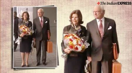 Swedish royals carry their own luggage from airport, Swedish royals, King Carl Gustaf Folke Hubertus, Swedish royals visit India, trending, Viral Video, Indian Express news