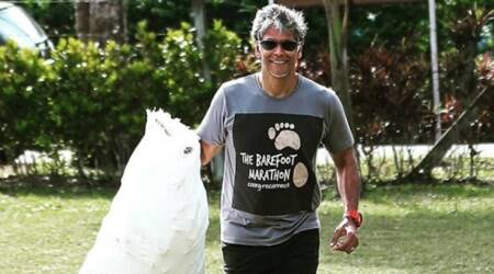 plogging, jogging and plucking, picking garbage, indianexpress.com, indianexpress, milind soman plogging, barefoot, plogging use, what is plogging, all you need to know about plogging, plogging benefits, thrash, garbage, india, plogging in india, plogman of india, fitness goals, plogging goals,