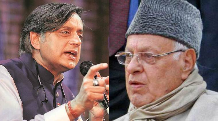 Farooq abdullah replies to shashi tharoor we are not criminals allow us to attend parliament