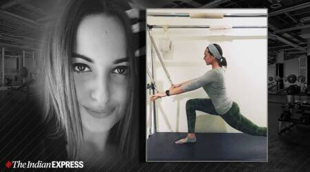 Lat Pull Down and Lunge with roll down bar on the Cadillac, sonakshi sinha, indianexpress.com, indianexpress, lifestyle, sonakshi sinha fitness lifestyle, cadillac, compound exercise, fitness goals, celeb fitness,