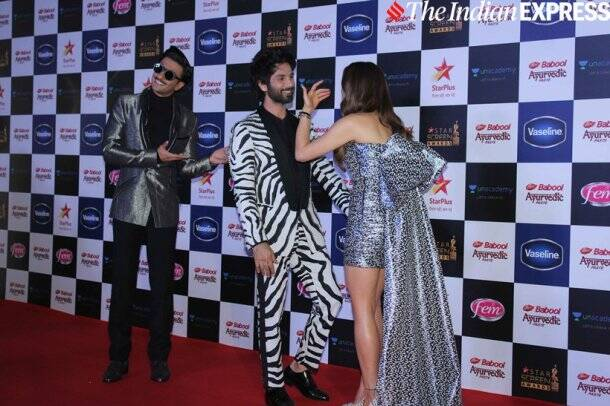 ranveer singh shahid kapoor and sara ali khan at Star Screen Awards 2019