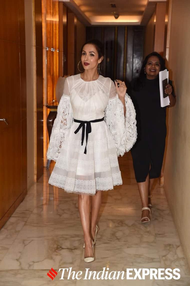 malaika arora in white lace dress, malaika arora latest photos, malaika arora recent photos, bollywood, celeb fashion, lifestyle, indian express