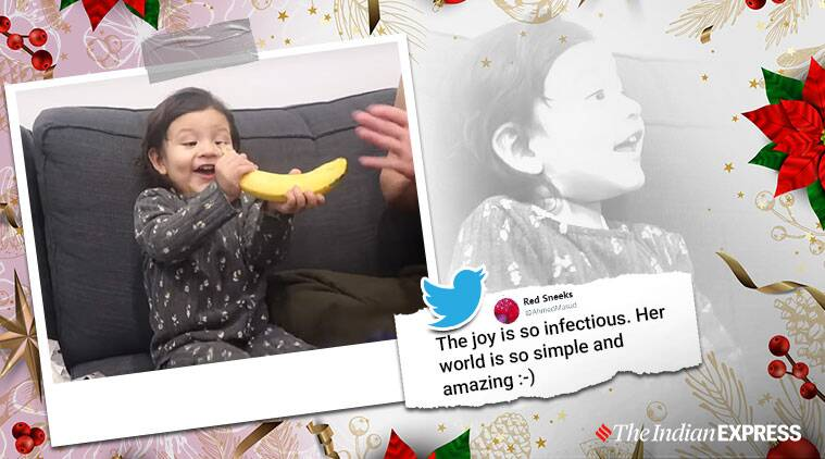christmas, christmas gift, girl reaction banana christmas present, father gives banana as christmas gift, banana, viral banana video, indian express