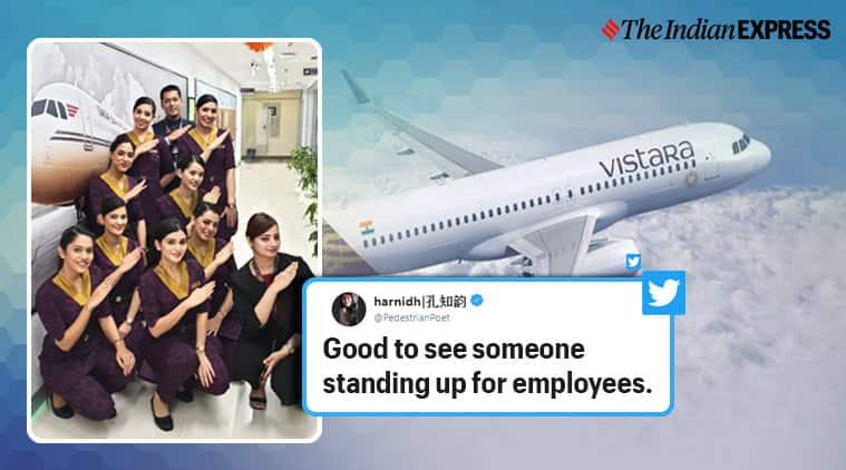 vistara, vistara CCO, vistara boss shuts troll for employee, vistara boss stand up for female employee, man shares pic of sleeping air hostess, viral news, good news, viral news, indian express