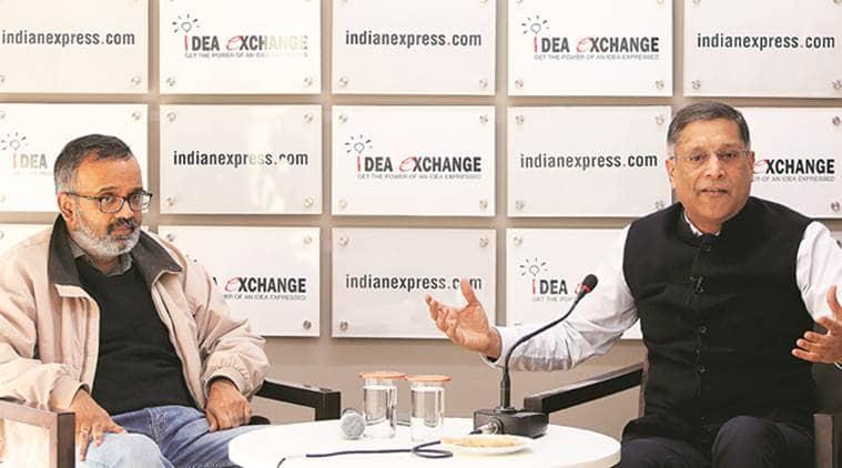Arvind Subramanian, Arvind Subramanian Idea Exchange, Idea Exchange Indian Express, Arvind Subramanian on Indian economy, economic slowdown, Indian economy, GDP, Indian Express