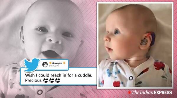 Father shares video of infant responding to mothers voice after switching on hearing aids, Baby hears for first time, Trending, Indian Express news