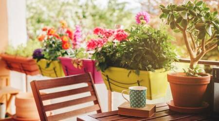 balcony makeover, interior decor, new year 2020 interior decor trends, indianexpress.com, how to design balcony spaces, new year 2020 design trends, balcony spaces, patio space makeover, space saving furniture, herb garden, balcony lighting,