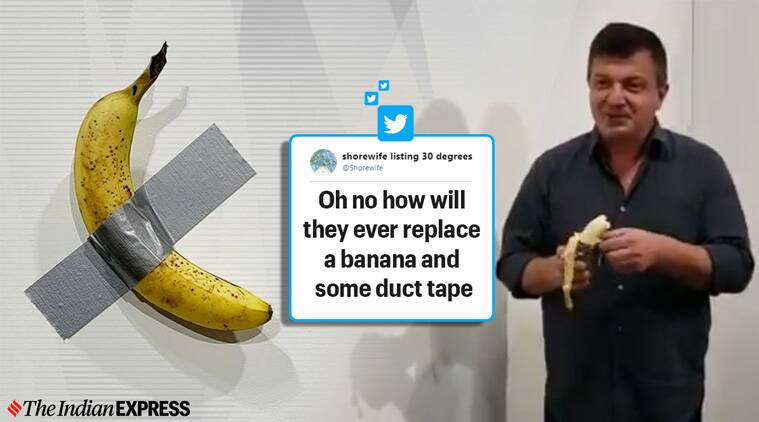 man eats duct-taped banana, banana art, duct-taped banana, banana art miami art basel, art basel duct-taped banana, Maurizio Cattelan, Trending, indian express