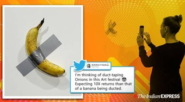 banana art, banana miami art basel, art basel duct-taped banana, viral news, odd news, funny news, indian express