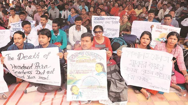 West Bengal Pay hike demand, bengal para teachers protests, Bengal assembly, Kolkata city news, Indian express