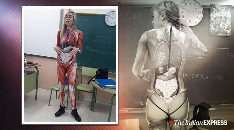 Teacher wear anatomy suit to classroom, Anatomy suit, Anatomy suit in classroom, Unique teaching methods, Trending, Spain, Indian express news