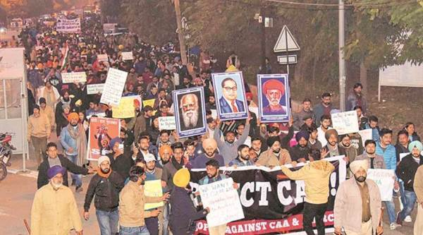 Citizens against divide protest against CAA NRC NPR, CAA protest chandigarh, CAA NRC protest chandigarh, Citizenship amendment bill protest, CAA violence, ahmedabad news, gujarat news, indian express news,