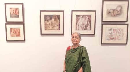 Naina Dalal begins all india tour, Naina Dalal exhibiting work of over 50 years, oldest woman printmakers in india, gujarat news, indian express news