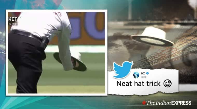 aus vs nz, australia vs new zealand, steve smith, aleem dar, aus vs nz flying hat video, viral news, cricket new, indian express
