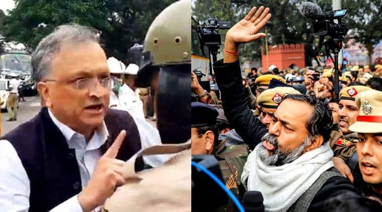 Ramchandra Guha detained , Yogendra Yadav detained, Citizenship act protests, Delhi protests, Citizenship act protesters, India news, Indian express