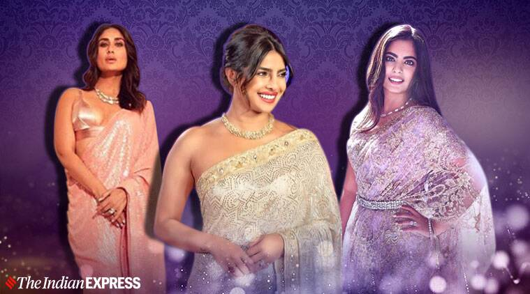 kareena kapoor, kareena kapoor, priyanka chopra, isha ambani sari pictures, new year perty sari photos, new year sari photos, new year sari, ways to style a sari for party, indian express, indian express news
