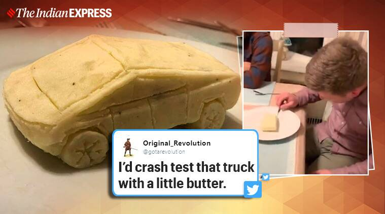 Man carves Tesla's cyber truck out of mashed potatoes, Elon Musk, man carves truck out of mashed potato, Tesla cyber truck, Thanksgiving 2019, Trending, Indian express news