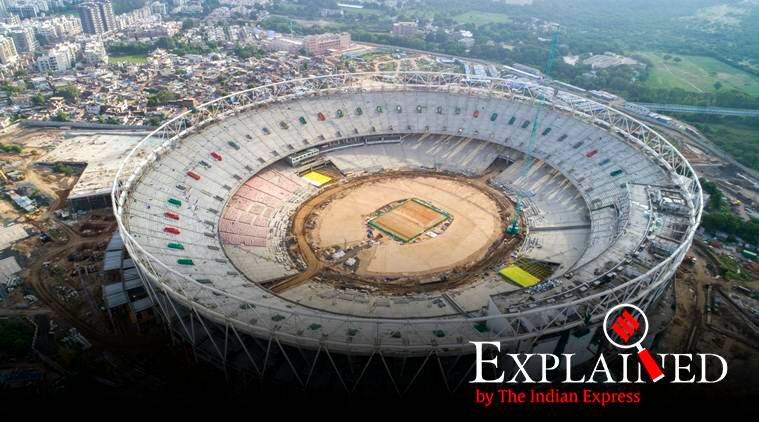motera stadium ahmedabad, new motera stadium, Sardar Patel stadium, World XI vs Asia XI, sports news, biggest cricket ground in world, indian express explained