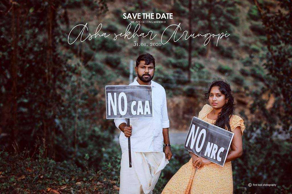 This Kerala Couple S Unique Pre Wedding Photoshoot Against Caa And Nrc Is Going Viral Trending News The Indian Express