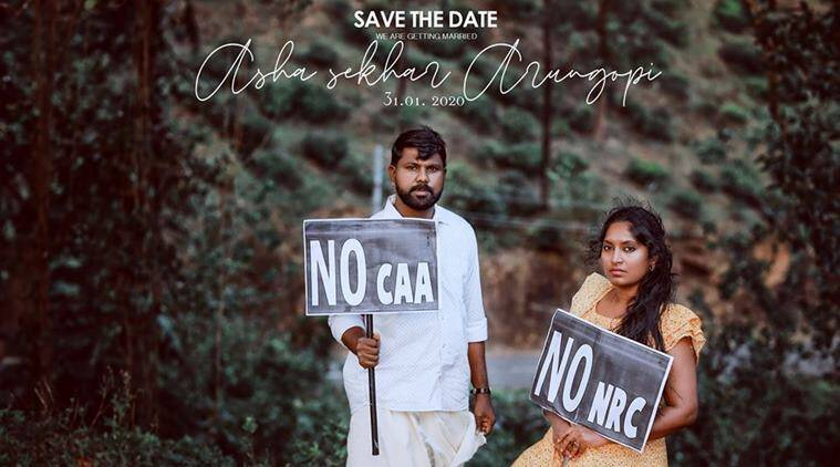 caa protest, caa nrc protest, kerala, kerala couple pre-wedding shoot caa protest, no caa pre-wedding couple shoot, kerala couple nrc protest photos, viral pre-wedding shoot, kerala news, indian express