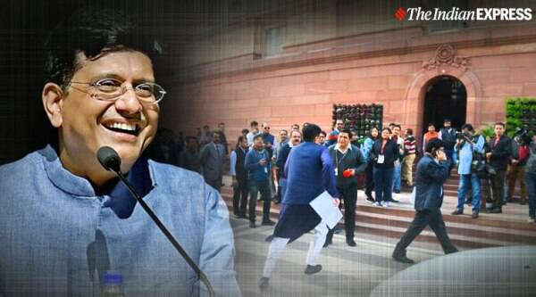 piyush goyal, piyush goyal running, piyush goyal running for question hour, piyush goyal viral photo, piyush goyal rushing for question hour, winter session 2019, indian express