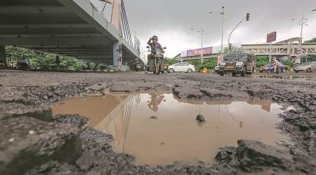 Potholes in mumbai, mubai potholes, under construction roads in Mumbai, roads in mumbai, road accidents in mumbai, mumbai news, mumbai city news, indian express news