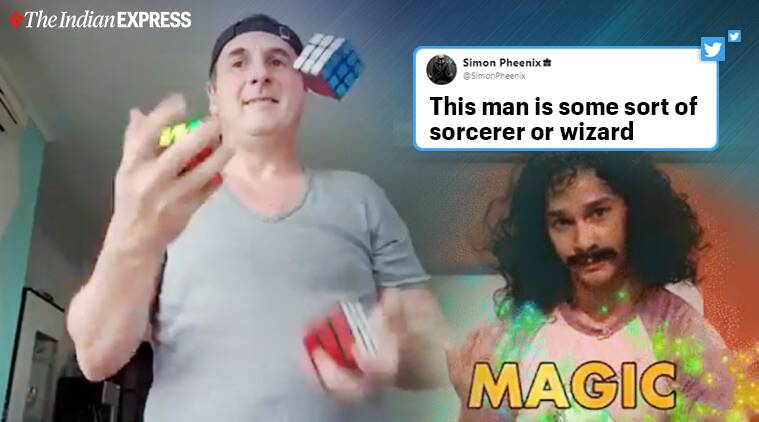 Man solves three Rubik's cube while juggling them, Viral video, Britain, Trending, Indian Express news