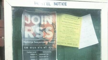 'Join RSS' posters come up on Panjab University noticeboards