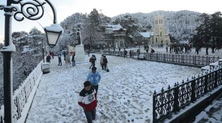 Shimla, Shimla snowfall, shimla Weather, snowfall in shimla, shimla christ church, shimla snow, shimla news, indian express