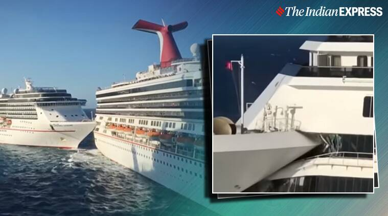 Carnival cruise ships collide in Mexico, cruise ships collide, Cruise ship collision video, Mexico, Cruise ship collision in Mexico, Trending, Indian Express news