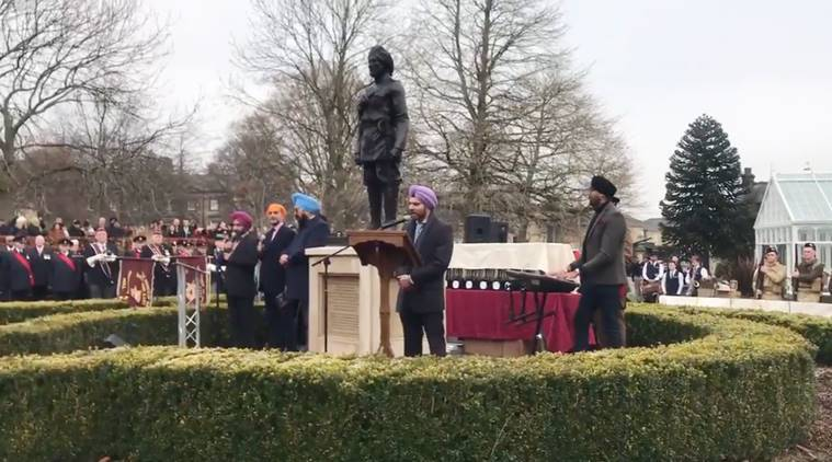 Huddersfield Sikh soldier statue unveiled in Greenhead Park, Sikh community honored, world war ii, sikh statue Yorkshire, trending, viral, indian express, indian express news