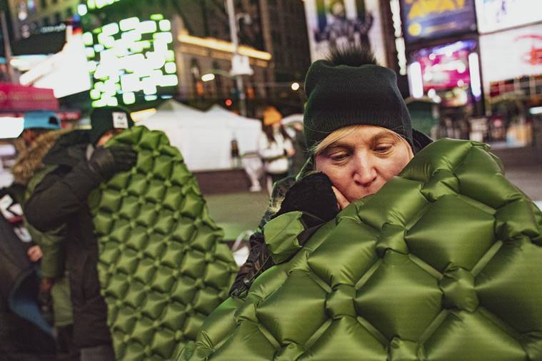 tme square sleeepout, time square night out, sleeping bags, will smith, indian express