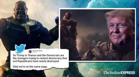 donald trump, trump thanos video, trump campaign thanos video, avengers endgame thanos dead scene, viral news, indian express, world news