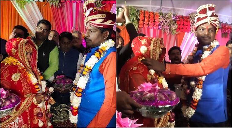 onion, onion price, onion wedding gifts, couple exchange onion garlands at wedding, up couple onion garlic garlands, viral news, odd news, indian express