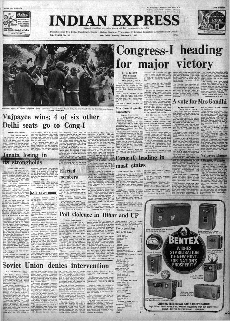 India elections 1980, 1980 elections Congress, Indira Gandhi 1980 elections, Afghan soviet war, indian express news