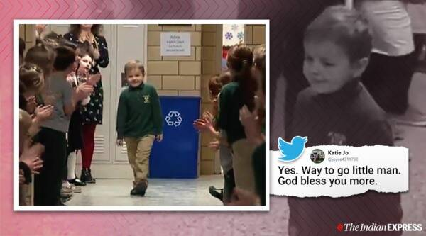 6-year-old receives standing ovation from friends and teacher after he beat cancer, Cancer survivor, Leukemia survivor, Ohio, Trending, Indian Express news