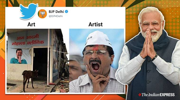 BJP, Art and artist memes, Arvind Kejriwal, AAP, BJP and AAP meme war, Delhi assembly election, Trending,Indian Express news