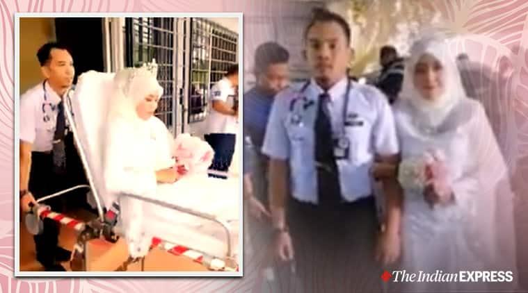 unique bride groom entry, unusual bridegroom entrance, bride groom arrive in ambulance, couple wedding ambulance, bride ambulance entry, viral videos, indian express