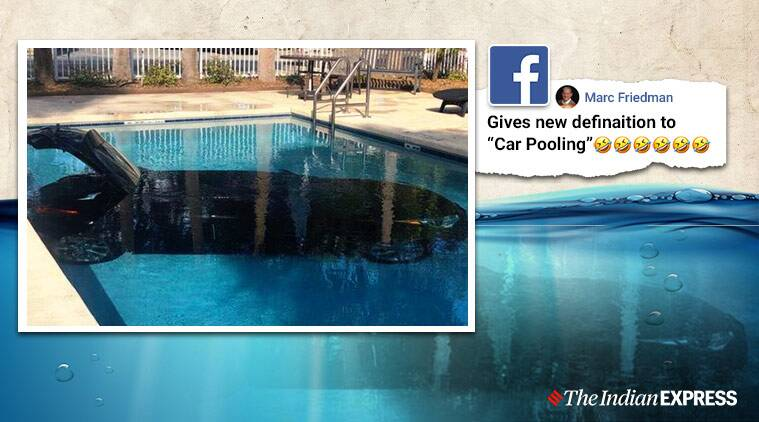 Car inside swimming pool, Car submerged inside swimming pool, Holiday Inn Express hotel, Florida, Trending, Indian Express news.