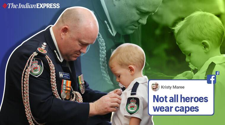 Son receives medal for firefighter father who died in Australian bush fire, Australia, Australian bushfire, Firefighter dies in Bush fire, New South Wales, New South Wales (NSW) Rural Fire Service, Trending, Indian Express news.