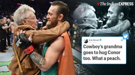 Conor McGregor, Donald Cerrone, Grandma Cerrone, McGregor v Cerrone, UFC grandma cerrone hug, McGregor hug cerrone grandmother, viral news, indian express