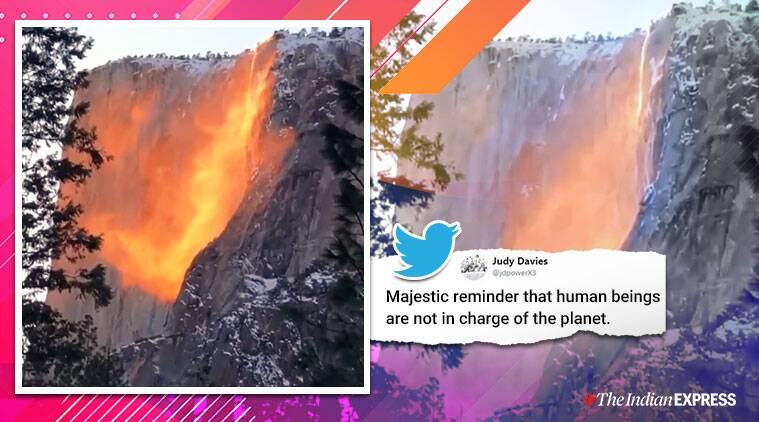 firefall, firefall viral video, Yosemite National Park, Horsetail Fall, firefall viral video, trending, indian express
