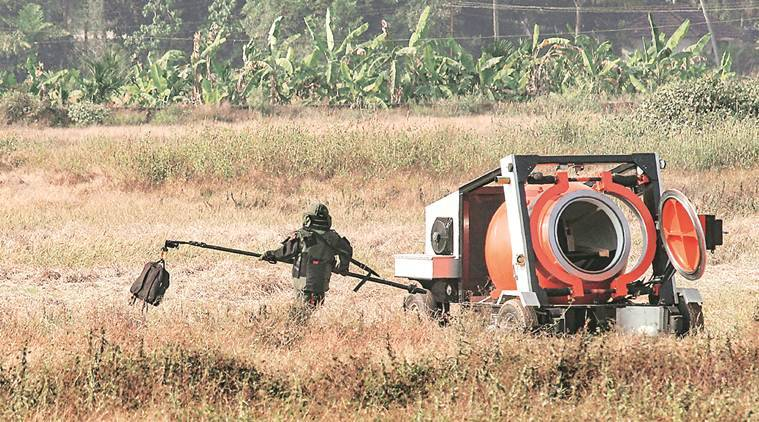 Bajpe airport, Bajpe airport IED bag, IED laptop bag, crude explosive device found, Mangaluru airport IED bafg, indian express