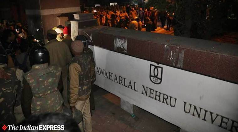 jnu protests, attack on JNU students, JNU violence, violence on campus, IIT Bombay, TISS mumbai, indian express